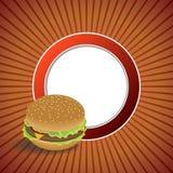 Ejemplo anaranjado rojo del marco del círculo del fondo de la hamburguesa abstracta de la comida Imagen de archivo