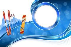 Ejemplo anaranjado rojo del marco del deporte de invierno de la snowboard azul abstracta del esquí del fondo Fotos de archivo