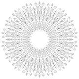 Ejemplo antiesfuerzo blanco y negro de la mandala para colorear Imagen de archivo libre de regalías