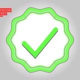Ejemplo aprobado verde de la etiqueta engomada de la estrella en el fondo blanco stock de ilustración