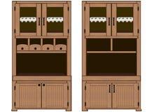 Ejemplo - armarios de madera retros con las servilletas, cajones, estantes, Imagen de archivo libre de regalías