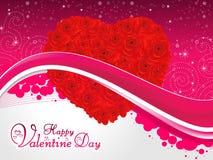 Ejemplo artístico abstracto del vector del corazón de la rosa del rojo de la tarjeta del día de San Valentín Foto de archivo