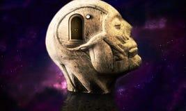 Ejemplo artístico 3d de una estructura principal humana del extracto galáctico liso que hace la meditación stock de ilustración