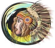Ejemplo artístico de la muchacha de Indiana, abstracción stock de ilustración