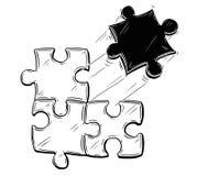 Ejemplo artístico del dibujo del vector de cuatro pedazos del rompecabezas Foto de archivo