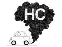 Ejemplo artístico del dibujo del vector de la contaminación del aire HC del coche ilustración del vector