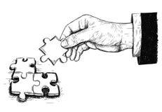 Ejemplo artístico del dibujo del vector de tres pedazos del rompecabezas conectados Fotografía de archivo
