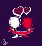 Ejemplo artístico del vector de dos copas, casandose pares Imagenes de archivo