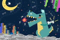Ejemplo: Ataque de Godzilla del perro la ciudad en el planeta del espacio ilustración del vector