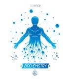 Ejemplo atlético del vector del hombre hecho usando molecular futurista libre illustration