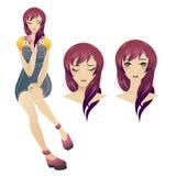 Ejemplo atractivo joven lindo de la muchacha del animado con el pelo púrpura largo imagen de archivo