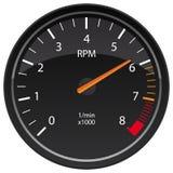 Ejemplo automotriz del vector del indicador del tablero de instrumentos del tacómetro de la RPM foto de archivo