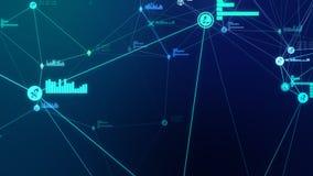 Ejemplo azul abstracto futurista de la conexión de red del cryptocurrency 3D imagen de archivo
