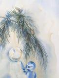 Ejemplo azul de la acuarela de la decoración del árbol de navidad ilustración del vector