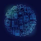 Ejemplo azul de la contabilidad y de la investigación stock de ilustración