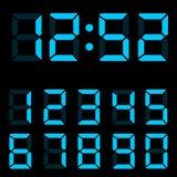 Ejemplo azul de los dígitos del reloj Imagen de archivo