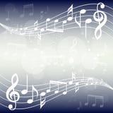 Ejemplo azul del fondo de la música de la pendiente El bastón curvado con música observa el fondo ilustración del vector