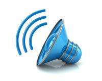 Ejemplo azul del icono 3d del volumen del altavoz de audio Foto de archivo libre de regalías