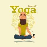 Ejemplo azul del vector de la habilidad de la actitud de la yoga Imagen de archivo libre de regalías