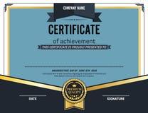 Ejemplo azul del vector de la plantilla del diploma del certificado Fotos de archivo