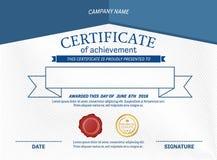 Ejemplo azul del vector de la plantilla del diploma del certificado Fotografía de archivo