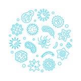 Ejemplo azul del vector de la ronda de la bacteriología y de la microbiología stock de ilustración