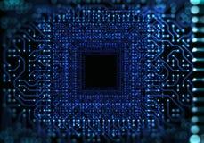 Ejemplo azul futurista del fondo del extracto del modelo del circuito Fotografía de archivo libre de regalías