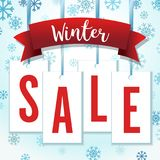 Ejemplo azul y rojo del vector de Hang Tag Snowflakes Winter Sale Imagen de archivo libre de regalías