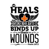 Ejemplo bíblico Él cura el desolado y ata sus heridas ilustración del vector