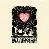 Ejemplo bíblico Cristiano tipográfico El amor no disfruta en las fechorías sino disfruta con la verdad, 1 13:6 de los Corinthians stock de ilustración