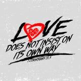 Ejemplo bíblico Cristiano tipográfico El amor no insiste en su propia manera, 1 13:5 de los Corinthians libre illustration