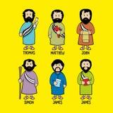 Ejemplo bíblico Jesus Christ Jesus está en diverso ejemplo clothesBiblical Los apóstoles de Jesus Christ stock de ilustración