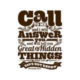 Ejemplo bíblico La llamada mí y a mí le contestará, y dirá cosas grandes y ocultadas usted que usted no ha sabido libre illustration