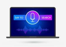 Ejemplo, bandera e iconos planos de la optimización de Voice Search stock de ilustración