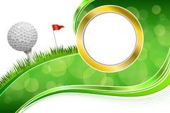Ejemplo blanco abstracto del oro del marco de la bola de la bandera roja de la hierba verde del deporte del golf del fondo Imágenes de archivo libres de regalías