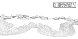 Ejemplo blanco brillante con las montañas poligonales abstractas de n stock de ilustración