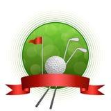 Ejemplo blanco de la cinta de la bandera roja del marco del círculo del club de la bola del deporte verde abstracto del golf del  Fotos de archivo libres de regalías