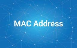 Ejemplo blanco del texto del MAC address con la constelación azul como fondo Fotografía de archivo