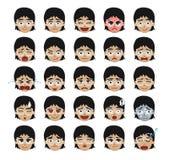 Ejemplo blanco del vector de la historieta de los Emoticons de la muchacha de los vidrios Fotos de archivo libres de regalías