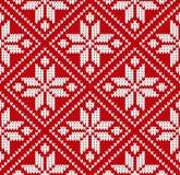 Ejemplo blanco rojo del vector del modelo de Noruega del suéter inconsútil del invierno ilustración del vector