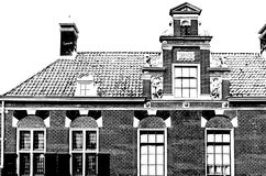 Ejemplo blanco y negro de edificios en Alkmaar Imagenes de archivo