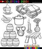 Diversos objetos de la historieta que colorean la página Imágenes de archivo libres de regalías
