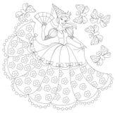 Ejemplo blanco y negro de la princesa para colorear Fotografía de archivo