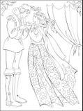 Ejemplo blanco y negro del príncipe y de la princesa medievales para colorear Fotos de archivo libres de regalías