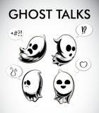 Ejemplo blanco y negro del vector de fantasmas Bebidas espirituosas de Halloween con diversas emociones Foto de archivo