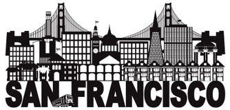 Ejemplo blanco y negro del vector de San Francisco Skyline y del texto ilustración del vector