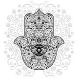 Ejemplo blanco y negro del vector del estilo del tatuaje del amuleto de la mano de Hamsa ilustración del vector