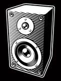 Ejemplo blanco y negro del vintage del altavoz de audio libre illustration