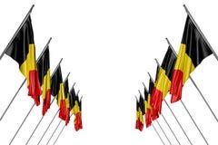 Ejemplo bonito de la bandera 3d del día del himno - muchas banderas de Bélgica cuelgan encendido en los polos de la esquina de lo libre illustration