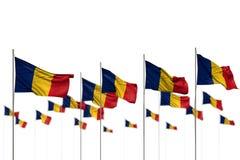 Ejemplo bonito de la bandera 3d del d?a del himno - Rumania aisl? las banderas colocadas en fila con el foco suave y el espacio p libre illustration